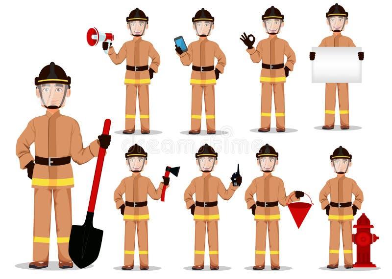 Sapeur-pompier dans l'uniforme professionnel et le casque sûr, ensemble illustration de vecteur