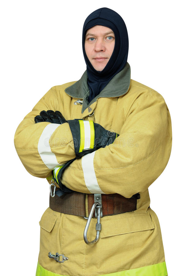 Sapeur-pompier dans le passe-montagne images libres de droits