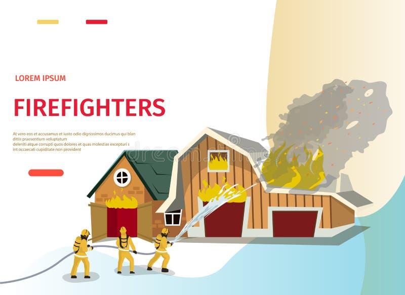 Sapeur-pompier de concept de bande dessinée d'illustration de vecteur illustration de vecteur