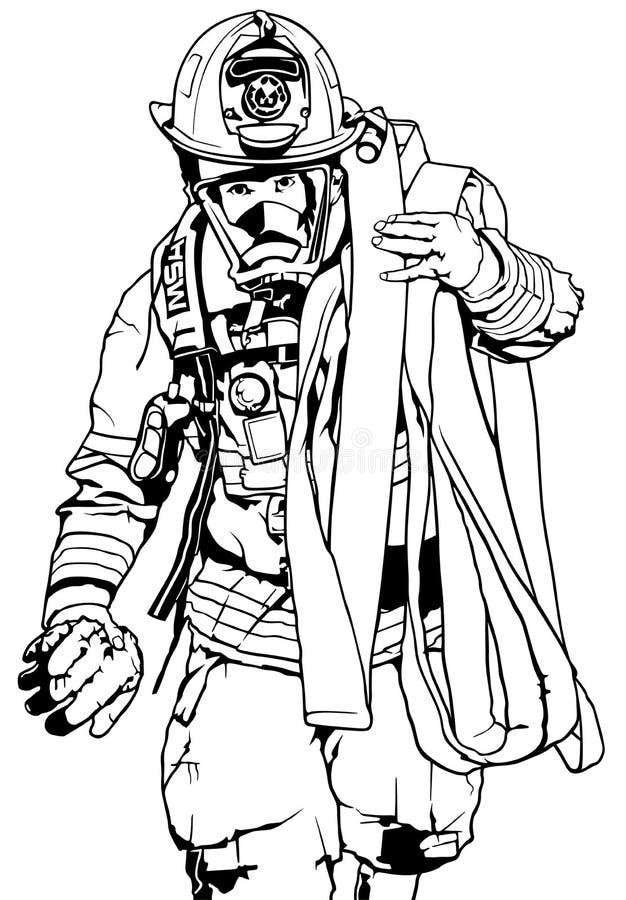Sapeur-pompier With Fire Hose illustration de vecteur