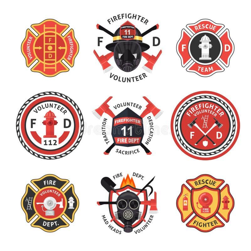 Sapeur-pompier Label Set illustration libre de droits