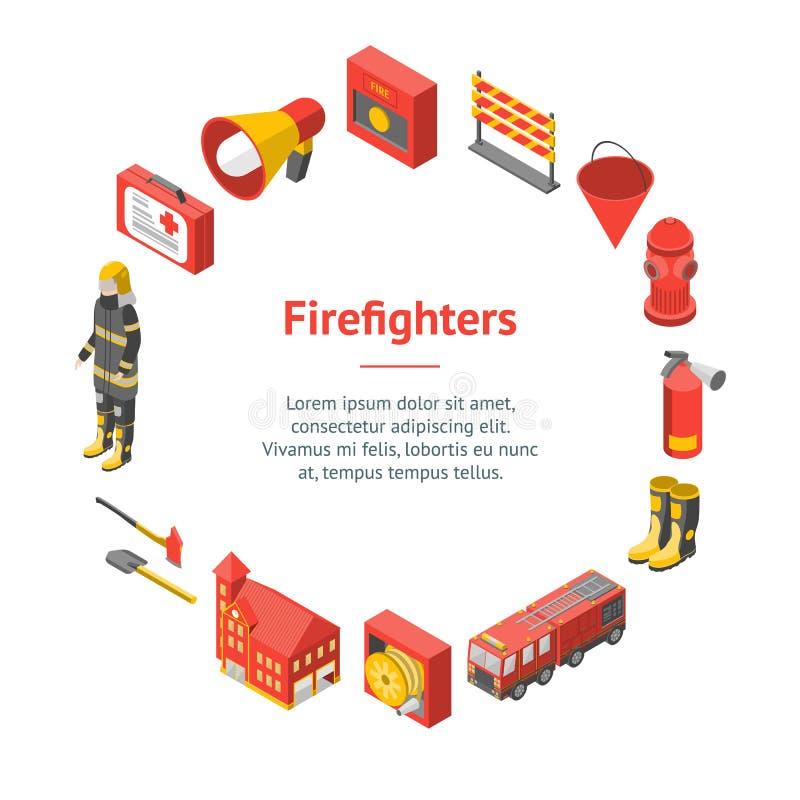 Sapeur-pompier Man et vue isométrique de cercle de carte de bannière d'équipement Vecteur illustration stock