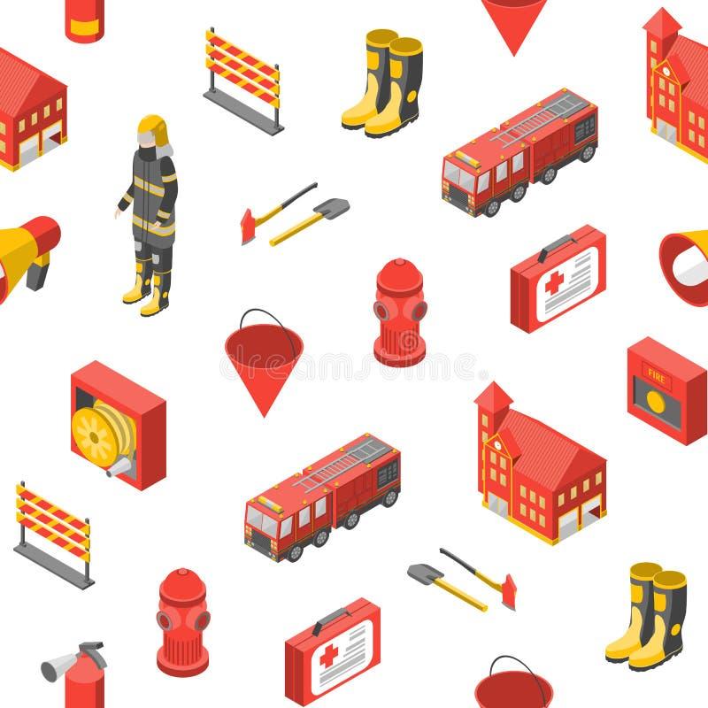Sapeur-pompier Man et vue isométrique de fond sans couture de modèle d'équipement Vecteur illustration stock