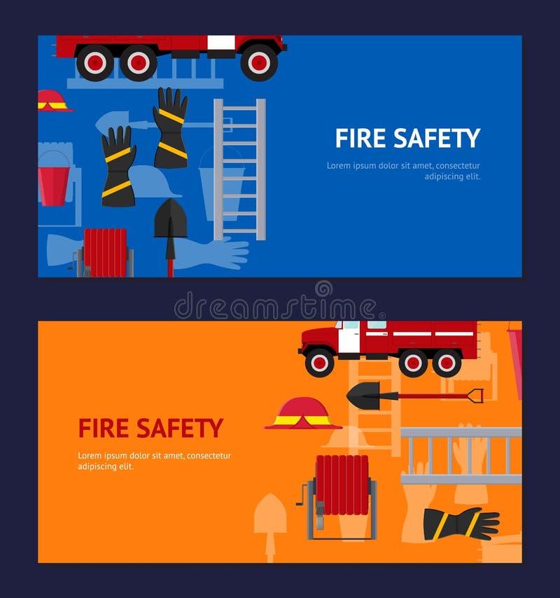 Sapeur-pompier Profession Equipment et ensemble horizontal d'outils Vecteur illustration stock