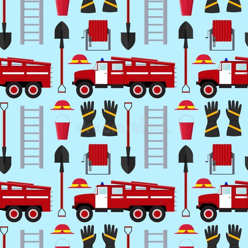 Sapeur-pompier Profession Equipment et modèle de fond d'outils Vecteur illustration libre de droits