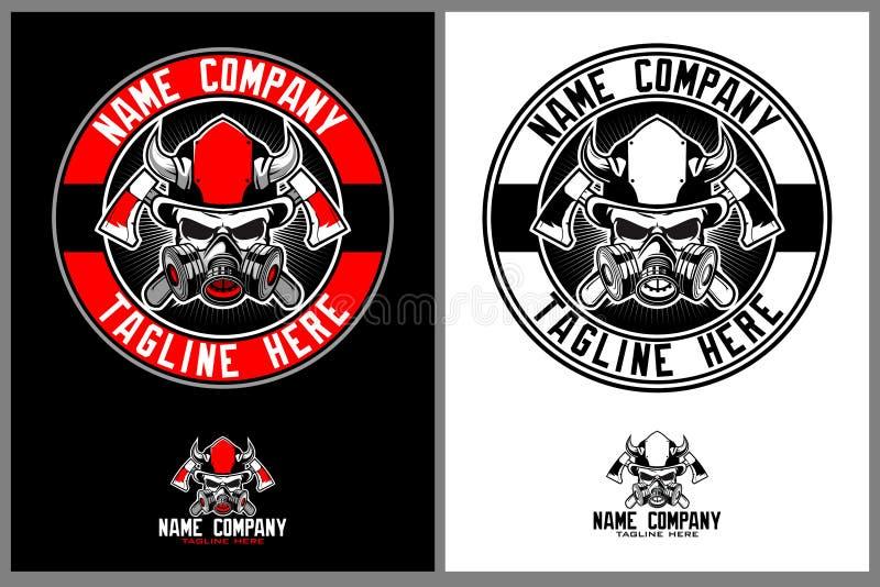Sapeur-pompier stupéfiant de crâne avec le calibre de logo de hache illustration libre de droits