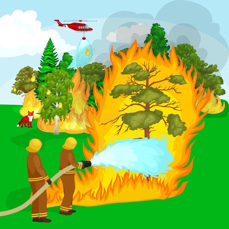 Sapeurs-pompiers dans les vêtements de protection et le casque illustration stock