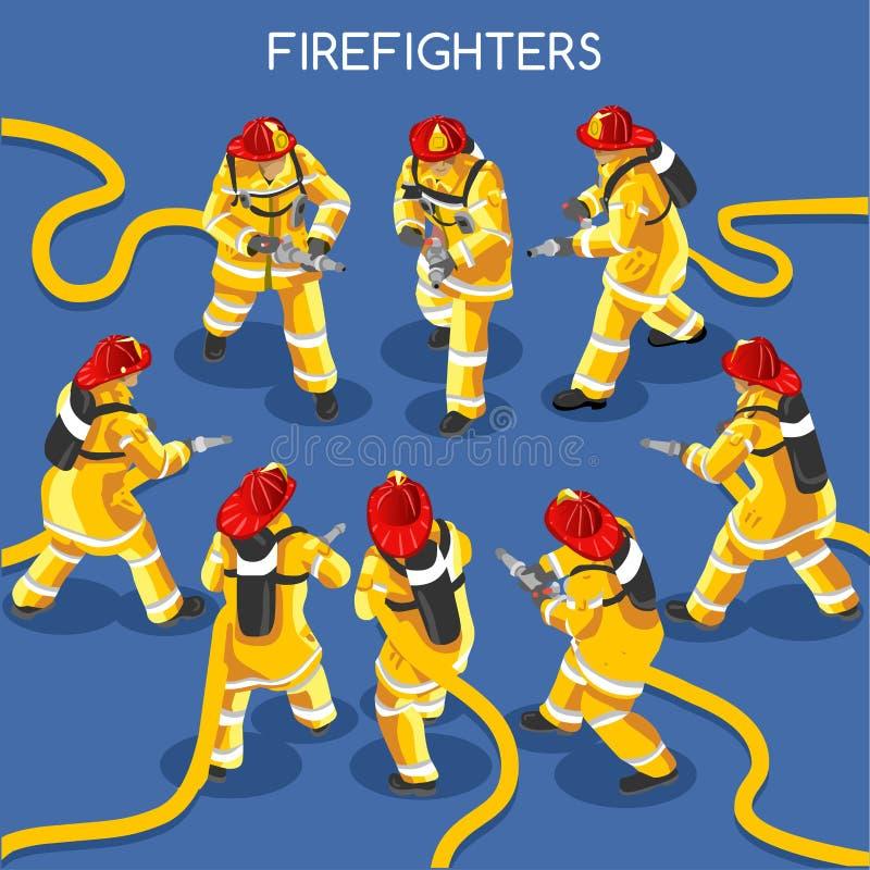 Sapeurs-pompiers 01 personnes isométriques illustration libre de droits