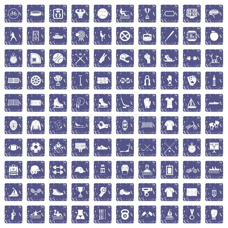 100 saphir grunge réglé d'équipe de sport par icônes illustration de vecteur