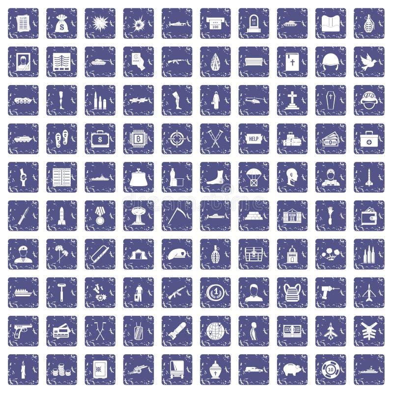 100 saphir grunge réglé de crimes de guerre par icônes illustration de vecteur