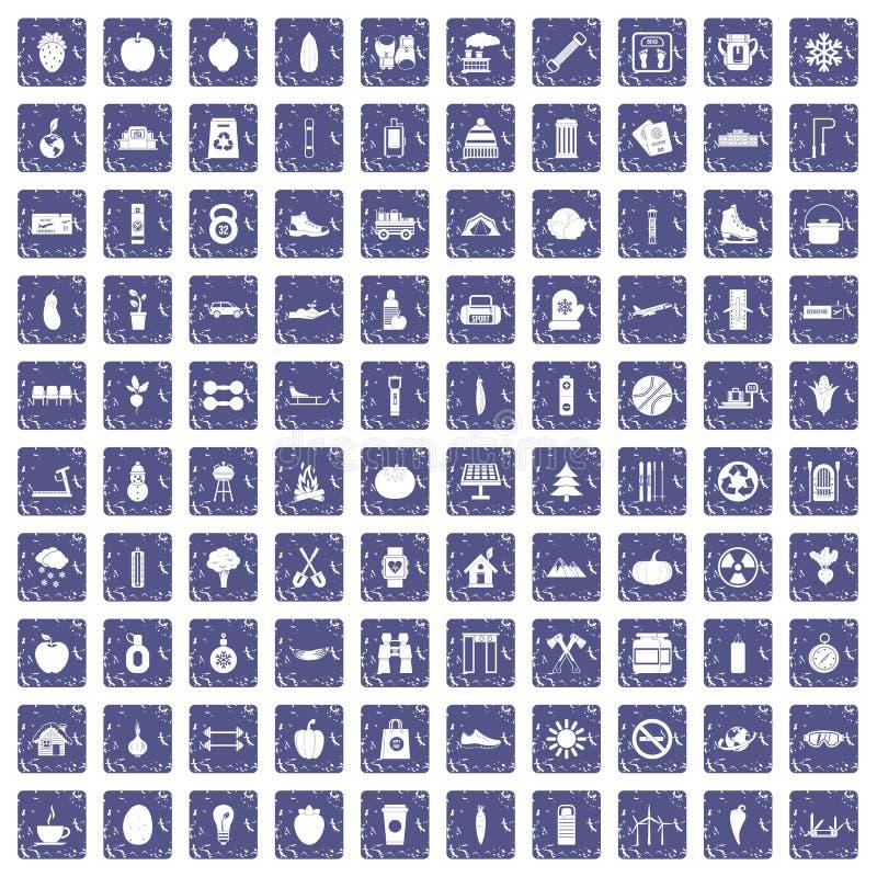 100 saphir grunge réglé de mode de vie par icônes saines illustration de vecteur