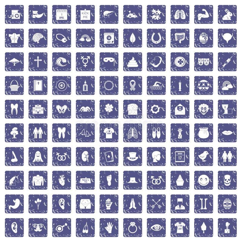 100 saphir grunge réglé de vacances de ressort par icônes illustration libre de droits