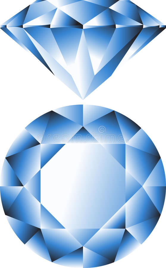 Saphire. Diamond jewel stone vector icon royalty free illustration