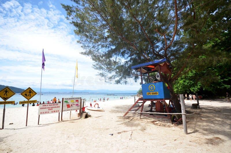 Sapi Island lifeguard post in Malaysia. KOTA KINABALU, MALAYSIA- 29 JUN, 2017: Sapi Island lifeguard post in Malaysia. Sapi Island is a favorite destination of royalty free stock photo