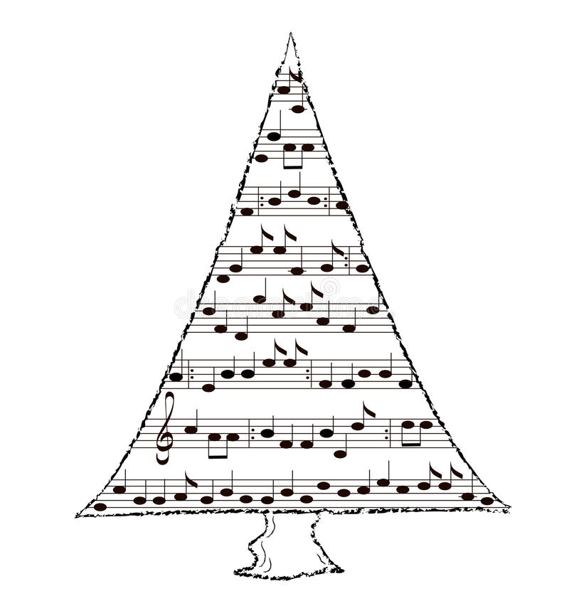 Sapin d'arbre, thème de musique illustration de vecteur