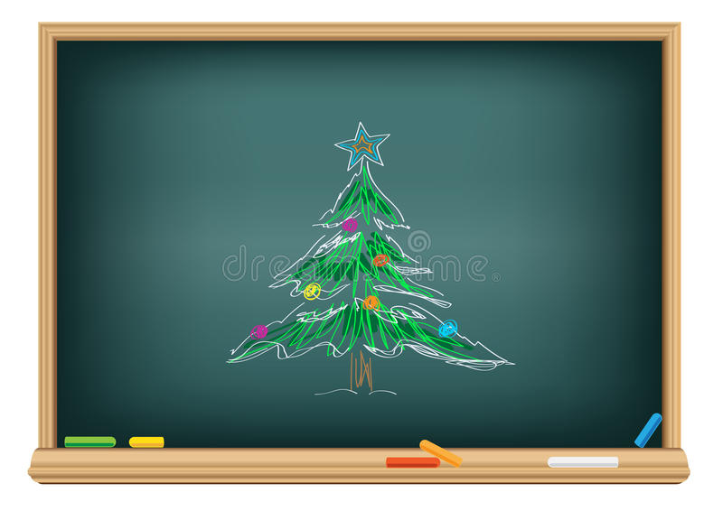 Sapin de retrait par une craie illustration stock