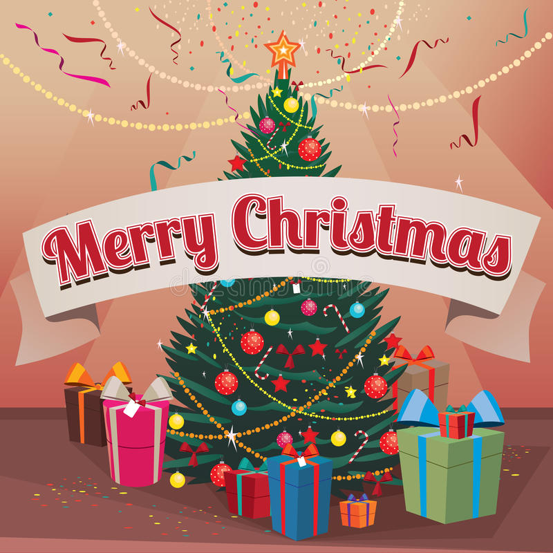 Sapin et cadeaux de Joyeux Noël à la maison illustration libre de droits