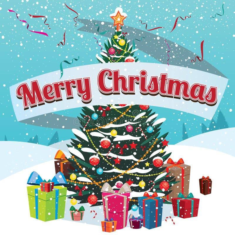 Sapin et cadeaux de Joyeux Noël en dehors de maison illustration stock