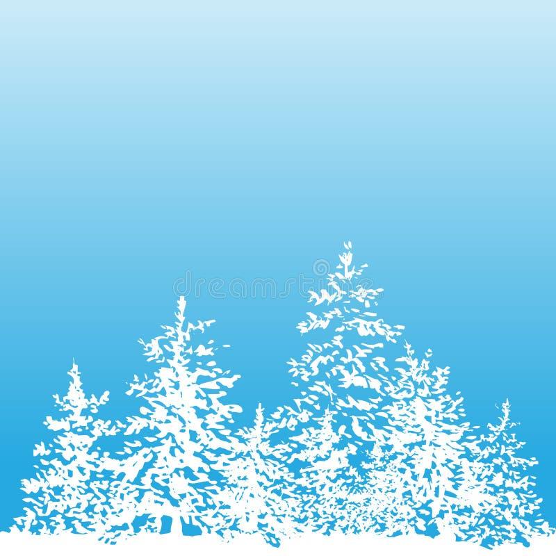 Sapin et neige d'encre de vecteur de fond d'hiver illustration libre de droits