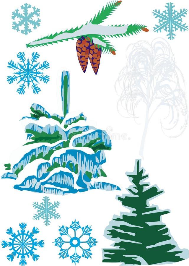 Sapins, cônes et flocons de neige illustration libre de droits