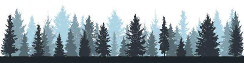 Sapins de forêt d'hiver, silhouette impeccable sur le fond blanc illustration libre de droits