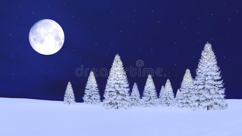 Sapins de Milou et pleine lune en ciel nocturne illustration stock