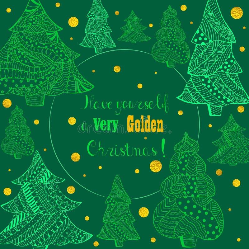 Sapins verts de Noël et chutes de neige d'or illustration stock