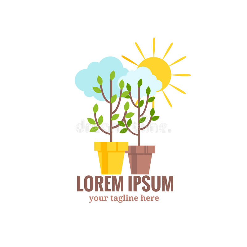 Saplings of garden trees or plants in flowerpots. Sun and cloud.Vector logo symbol of gardening and floriculture isolated on white background vector illustration