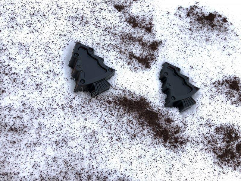 Sapone fatto a mano del caffè con le erbe, alberi nella neve bianca fotografia stock libera da diritti