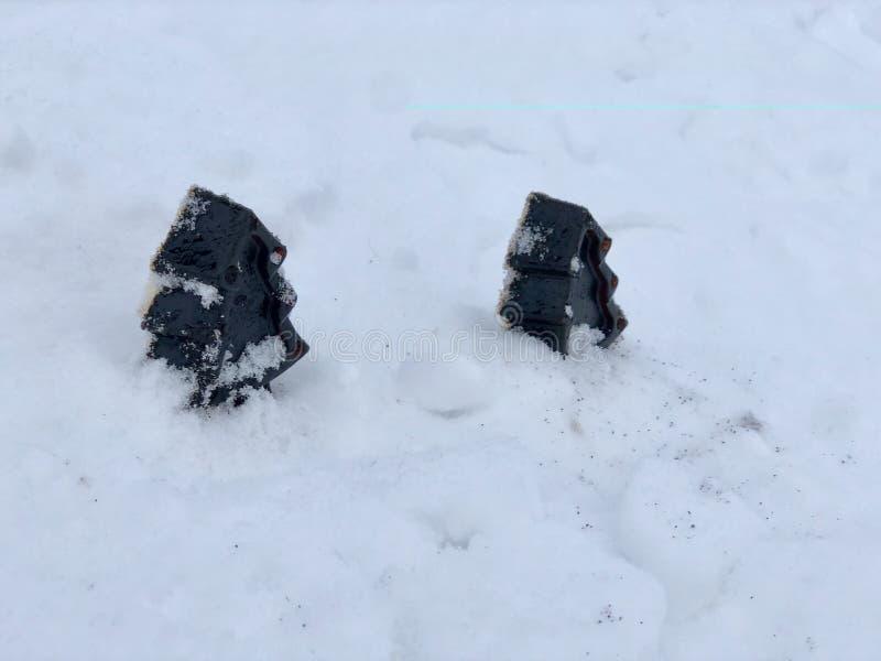 Sapone fatto a mano del caffè con le erbe, alberi nella neve bianca immagini stock libere da diritti