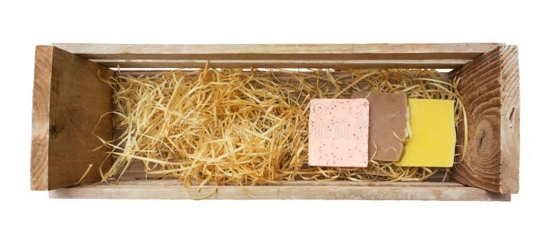 Sapone fatto a mano in scatola di legno fotografie stock libere da diritti