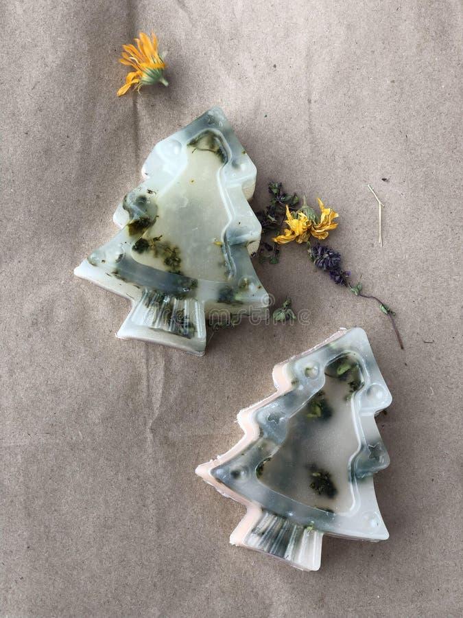 Sapone fatto a mano trasparente sotto forma di alberi di Natale con le erbe su un fondo di carta ruvida immagini stock