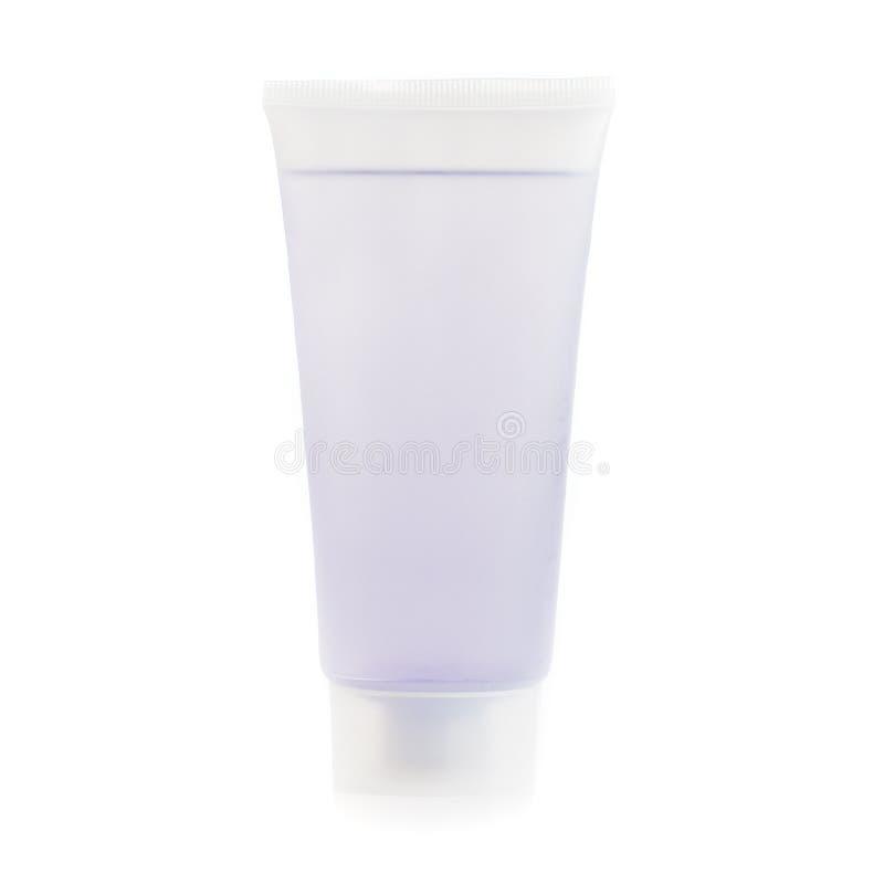 Sapone/lozione/sciampo contro bianco immagine stock
