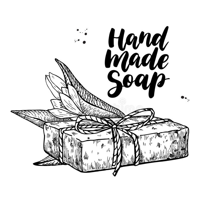 Sapone naturale Handmade Cosmetico disegnato a mano di vettore con iscrizione illustrazione di stock