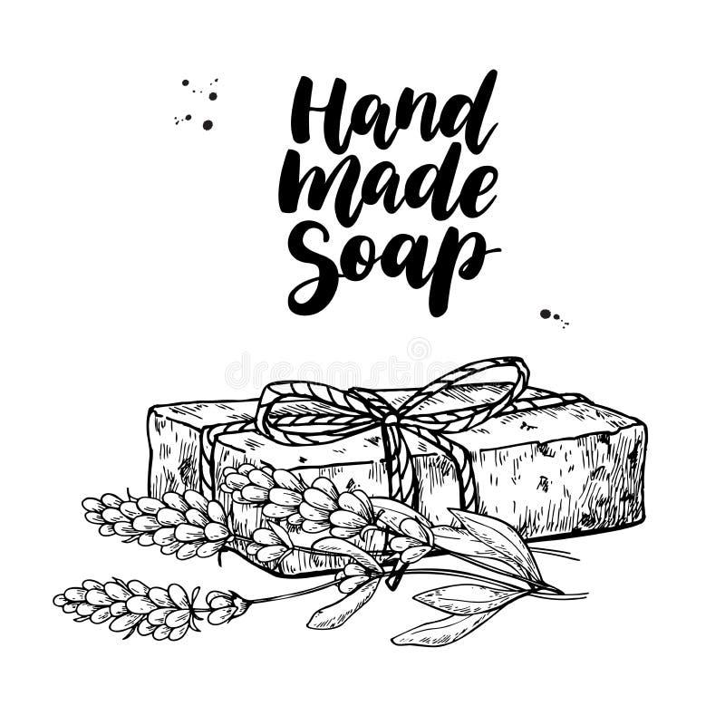 Sapone naturale Handmade Vector l'illustrazione disegnata a mano del cosmetico organico con i fiori medici della lavanda illustrazione vettoriale