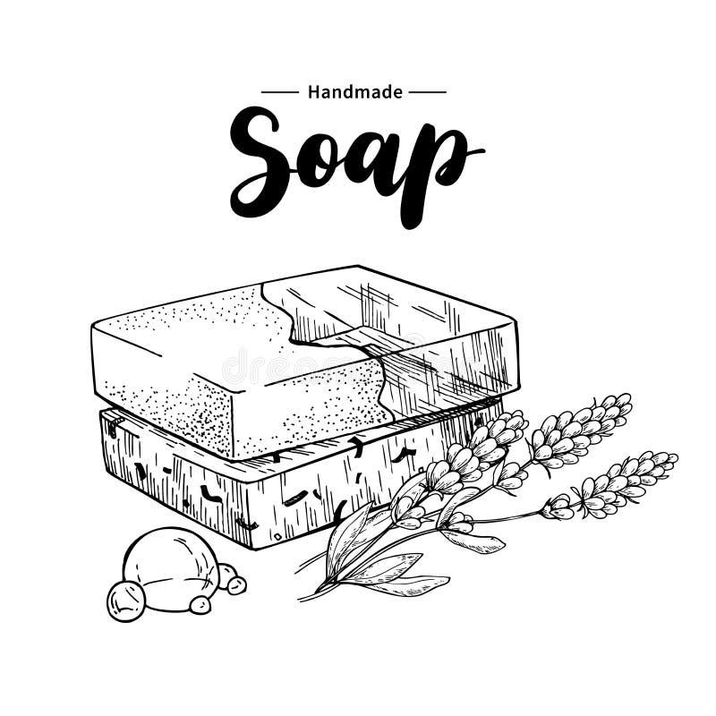 Sapone naturale Handmade Vector l'illustrazione disegnata a mano del cosmetico organico con i fiori medici della lavanda royalty illustrazione gratis