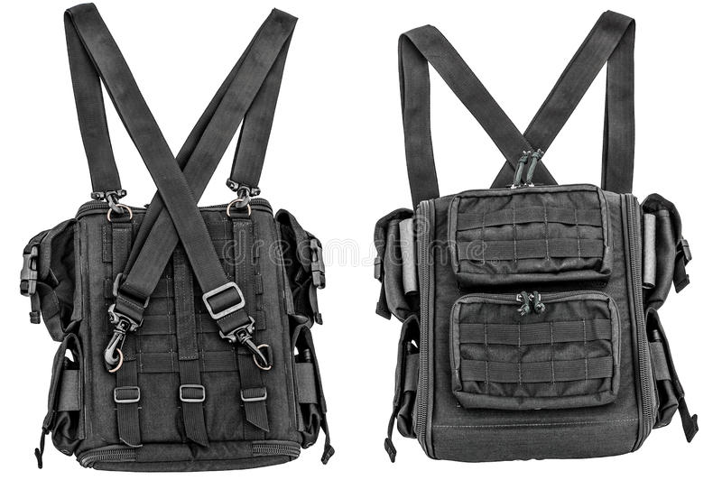 Sapper`s shoulder bag with a modular system to carry full military equipment, black, isolated - view inside.  stock photography