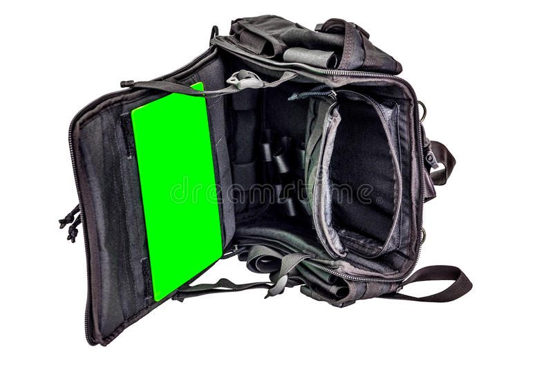 Sapper`s shoulder bag with a modular system to carry full military equipment, black, isolated - view inside stock photos