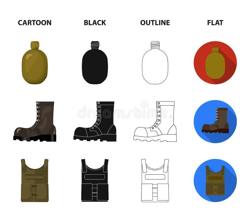 Sapperblad, handgranat, arméflaska, känga för soldat` s För militär och fastställda samlingssymboler för armé i tecknade filmen,  royaltyfri illustrationer