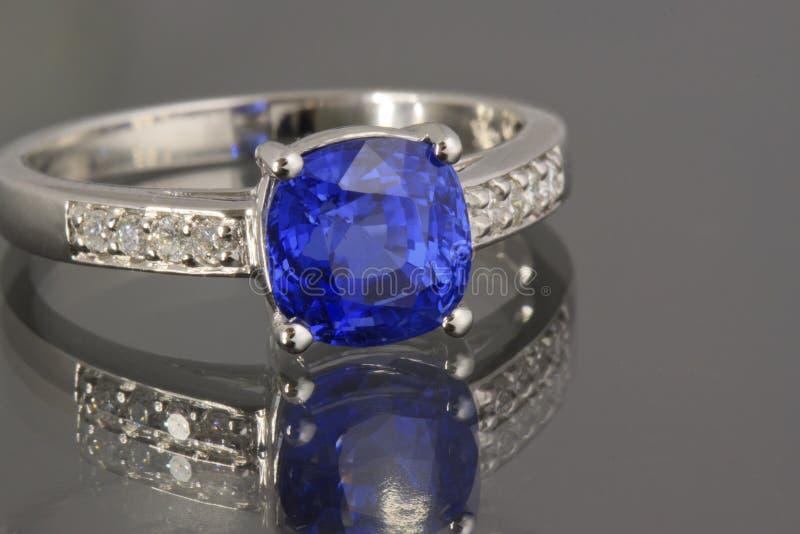 Sapphire and Diamonds ring stock photo