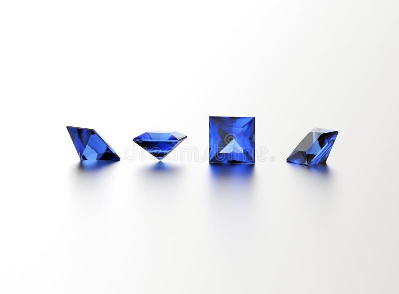 sapphire Pedra preciosa quadrada da forma Fundo preto da jóia da tela do ouro e da prata ilustração royalty free