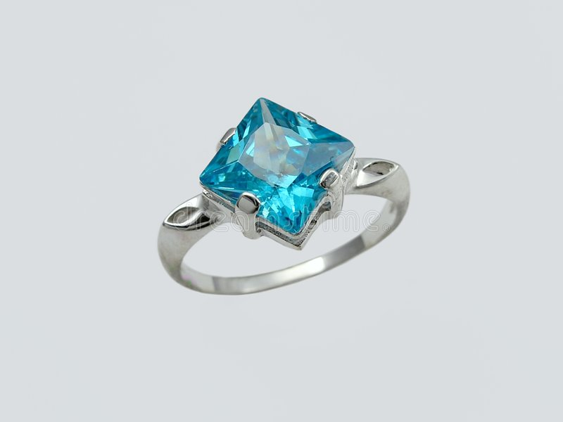 Sapphire ring. Ring with big sapphire royalty free stock photo