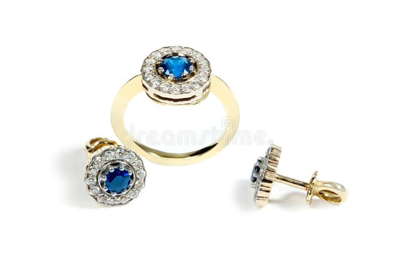 Sapphire ring and earrings royalty free stock photo