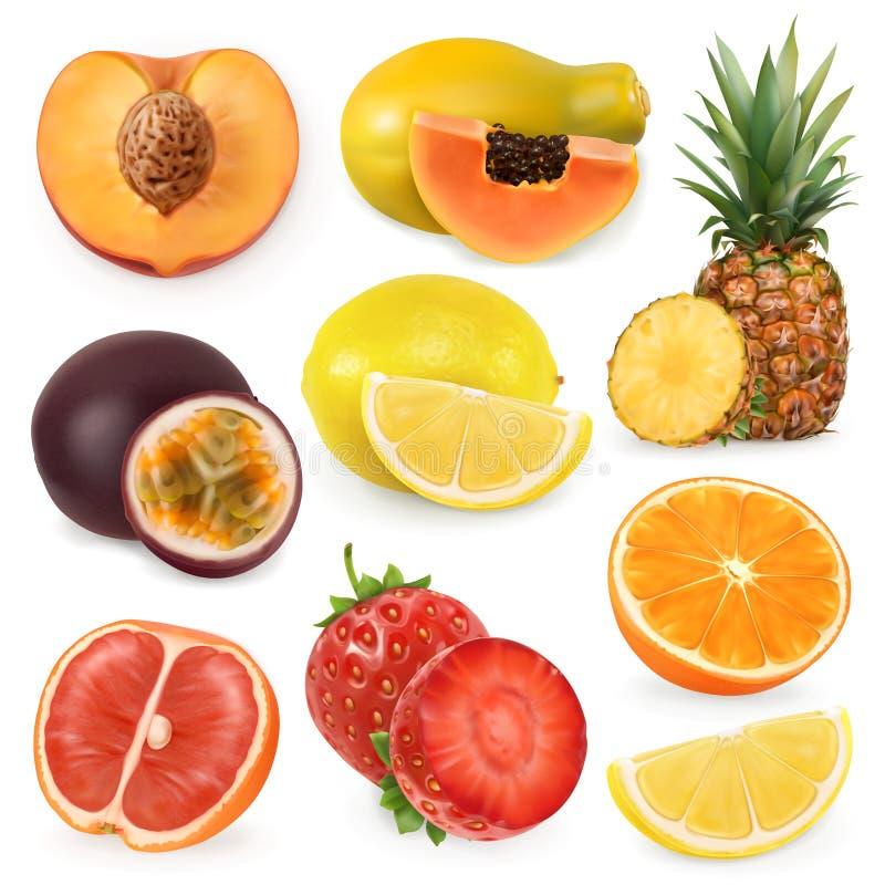 Sappig rijp zoet fruit Drie kleurenpictogrammen op kartonmarkeringen royalty-vrije illustratie