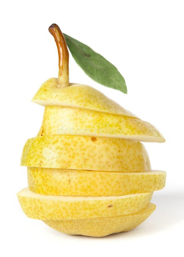 Sappige gele peer op wit royalty-vrije stock foto's