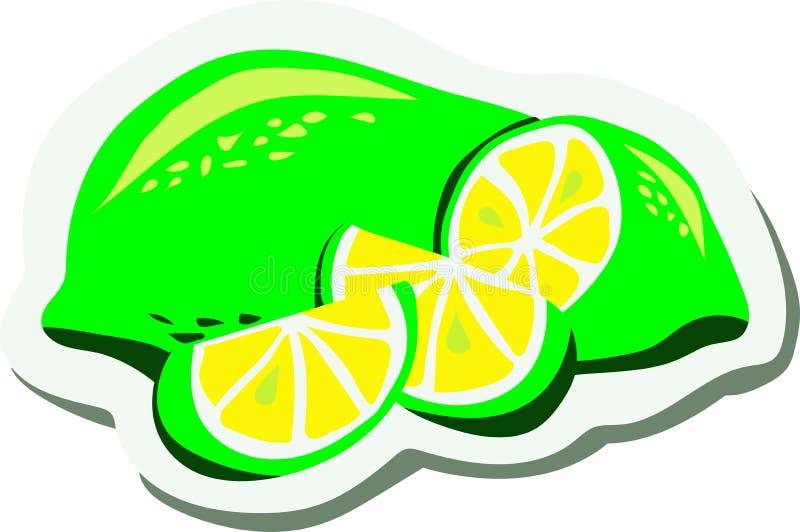 Sappige groene citroen, gesneden kalk †‹â€ ‹ stock illustratie
