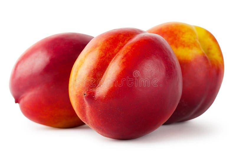 Sappige nectarine drie stock afbeeldingen