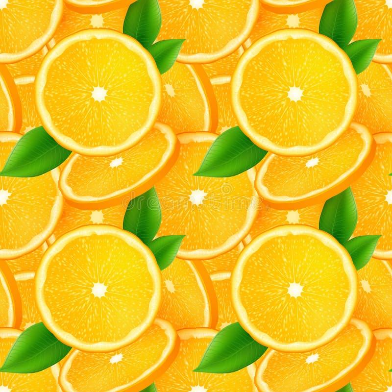Sappige oranje plakken met groene naadloze bladeren royalty-vrije illustratie