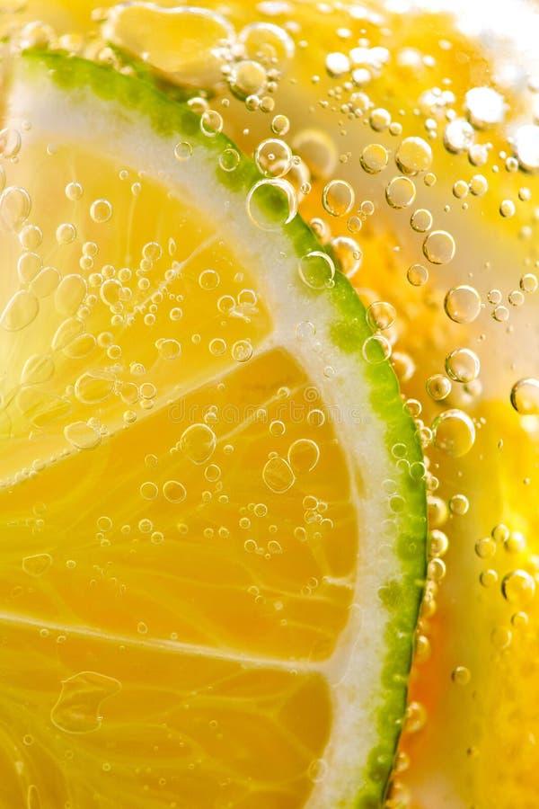 Sappige plakken van rijpe citroen en kalk met bellen in een glas water Macrofoto van het verfrissen van limonade stock fotografie