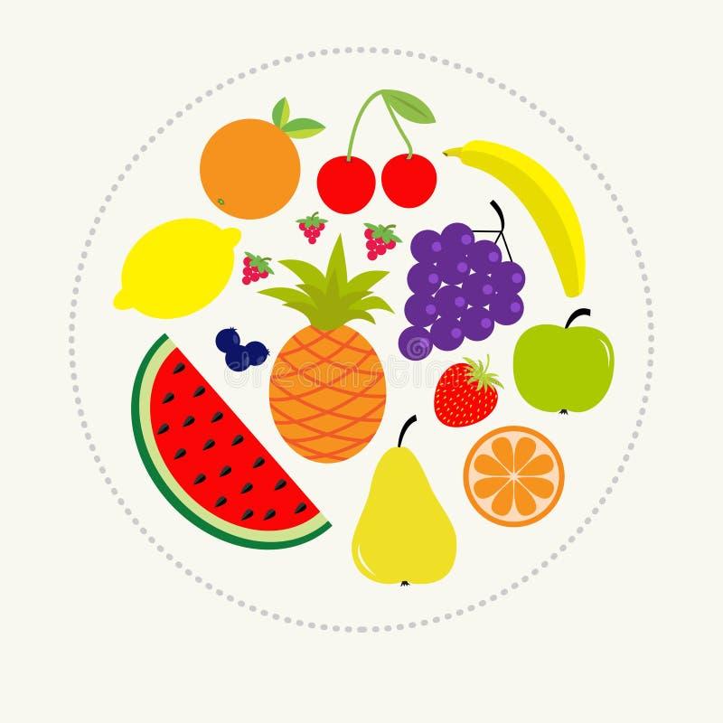 Sappige rijpe fruit en bessenreeks Van de de aardbei oranje ananas van de banaankers van de de druivencitroen van de de kersen wa stock illustratie